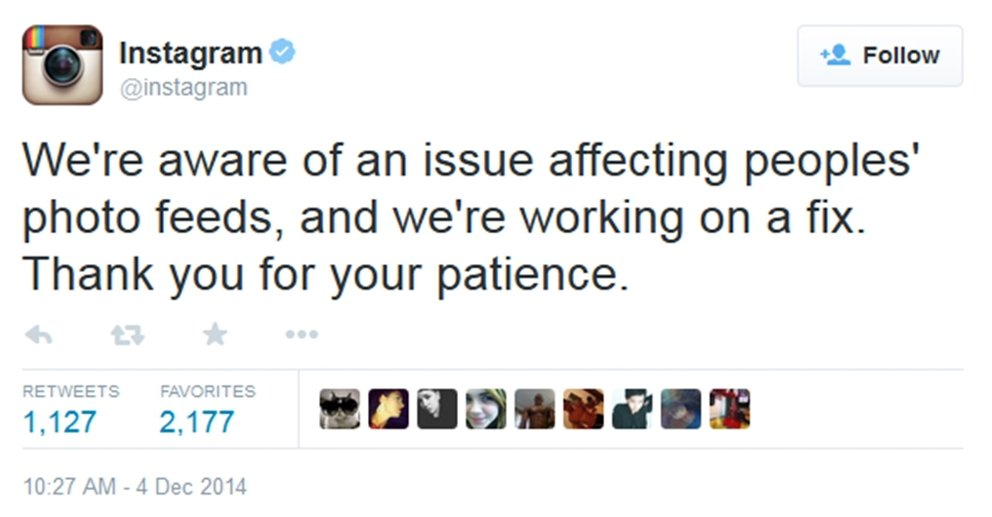 Alerta de Instagram en Twitter sobre sus problemas