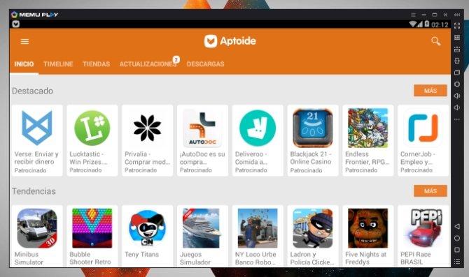 Algunas de las aplicaciones disponibles en Aptoide