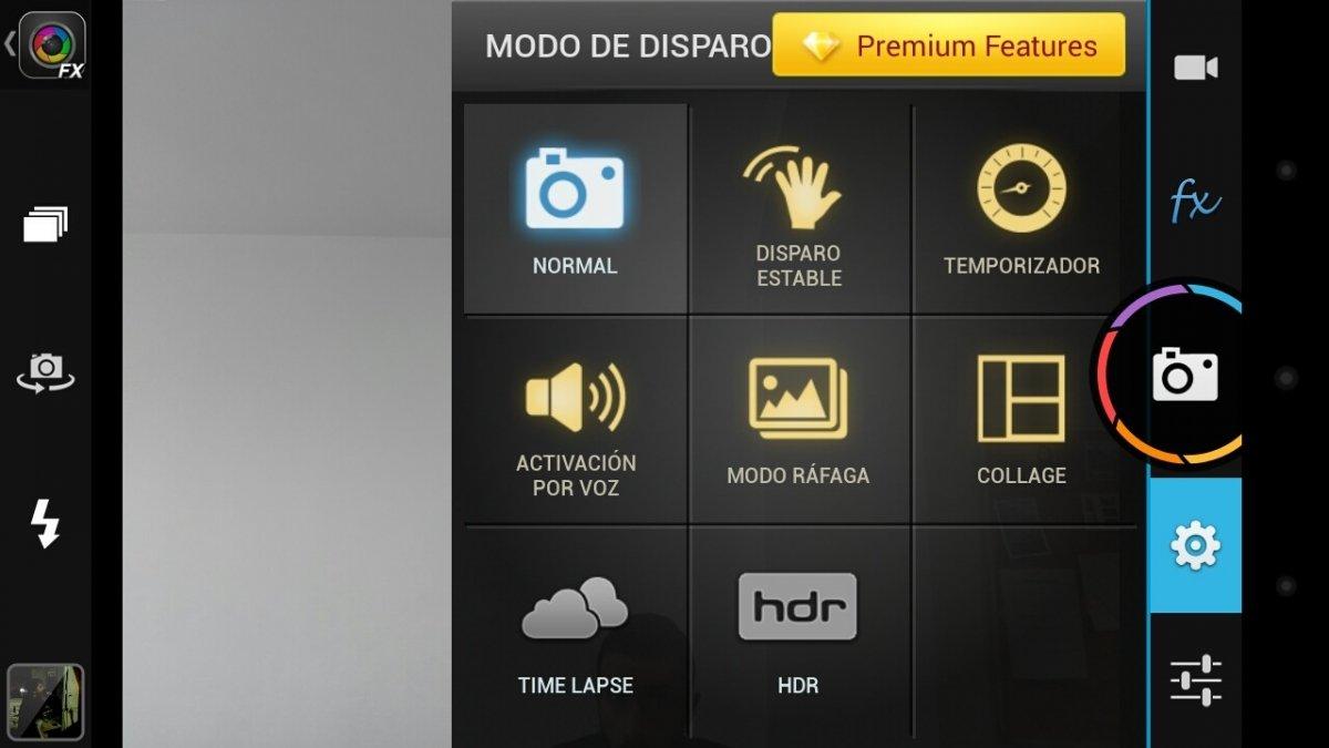Algunas de las opciones gratuitas de Camera ZOOM FX