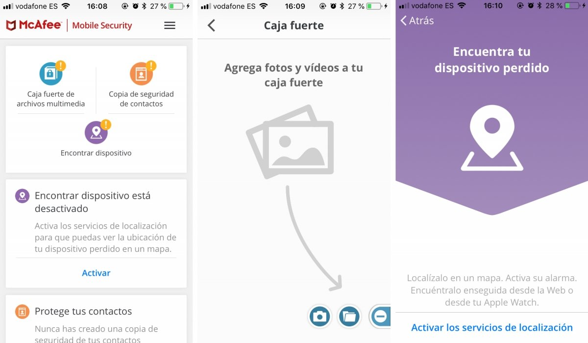 Algunas funciones de McAfee Mobile Security en iPhone