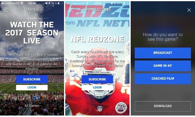 Algunas opciones de la app NFL Game Pass Europe