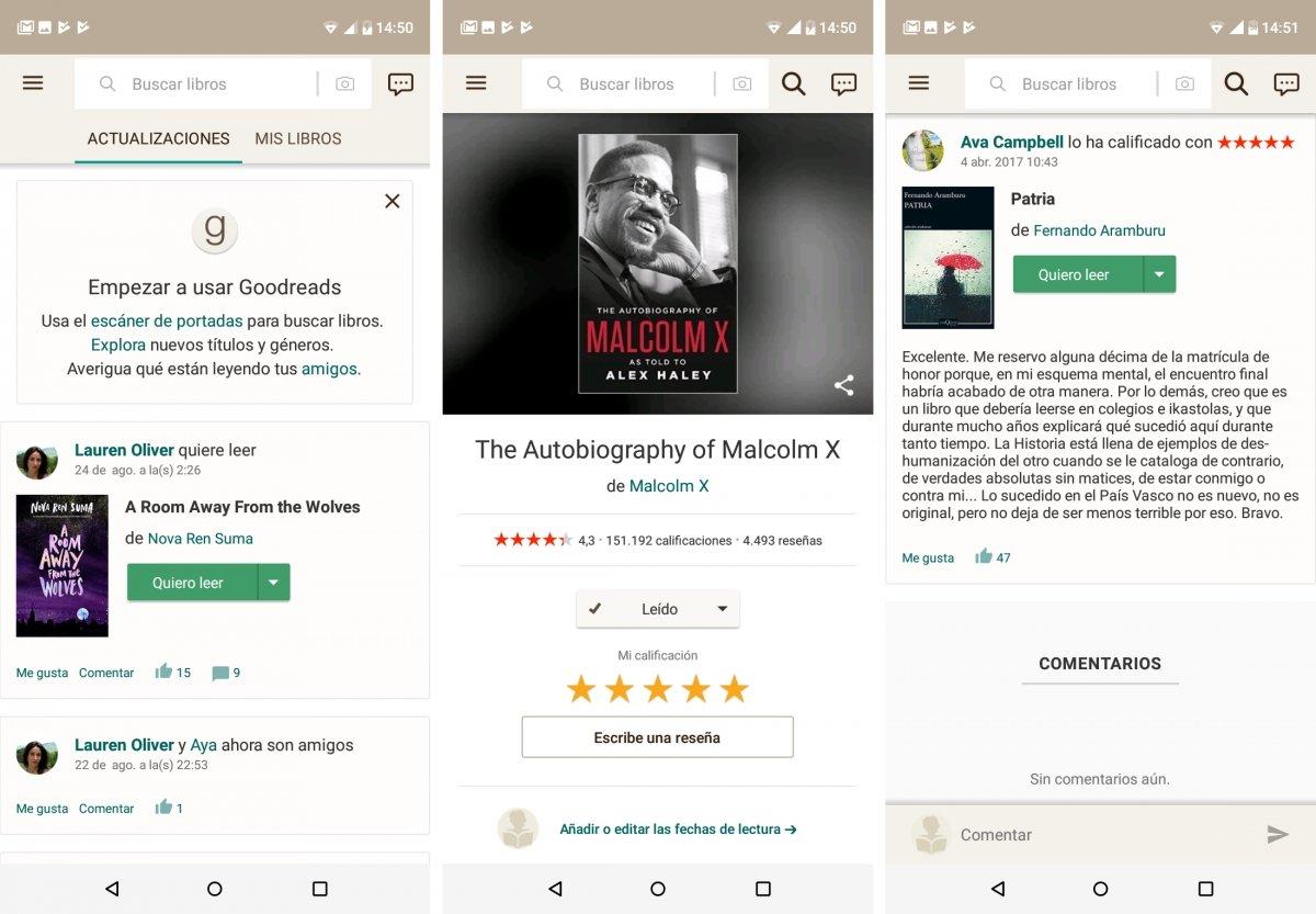 Algunas opciones disponibles en Goodreads