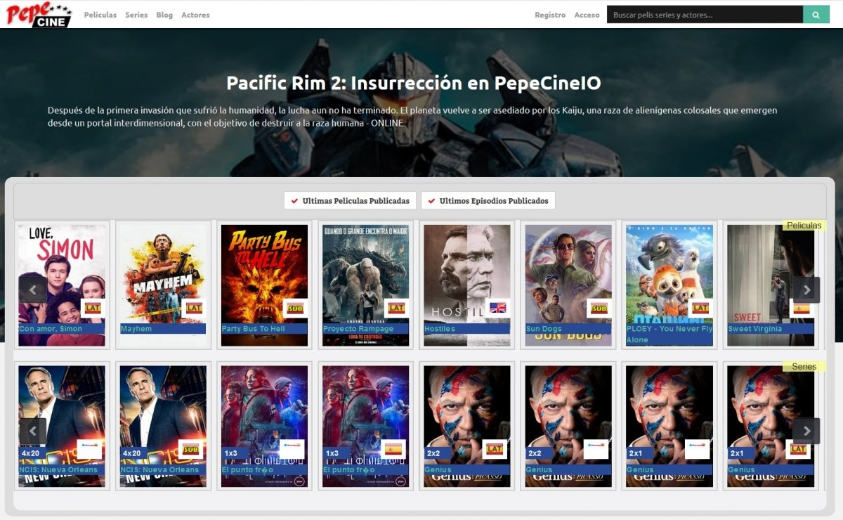 Algunas películas disponibles en PepeCine