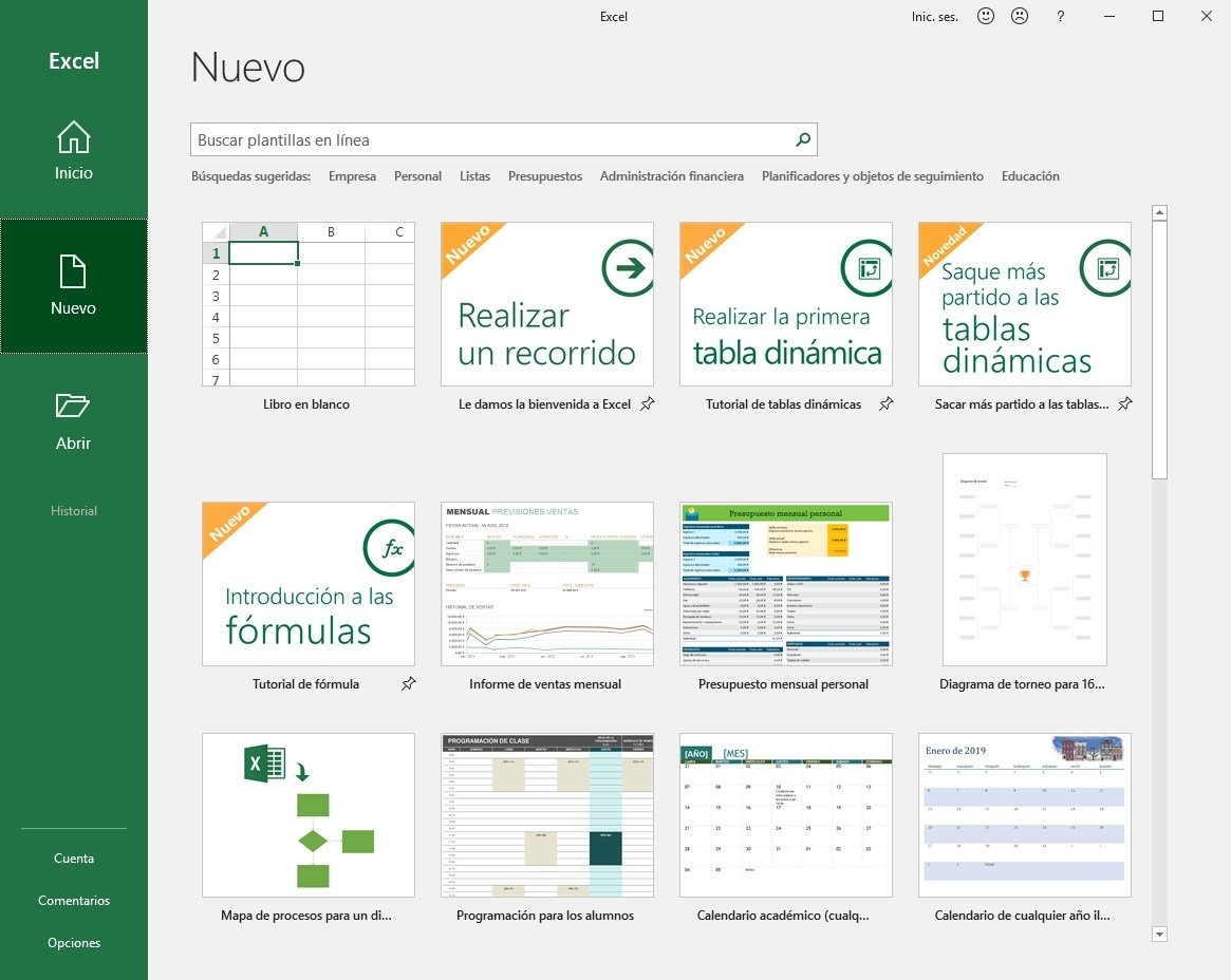Algunas plantillas disponibles en Microsoft Excel