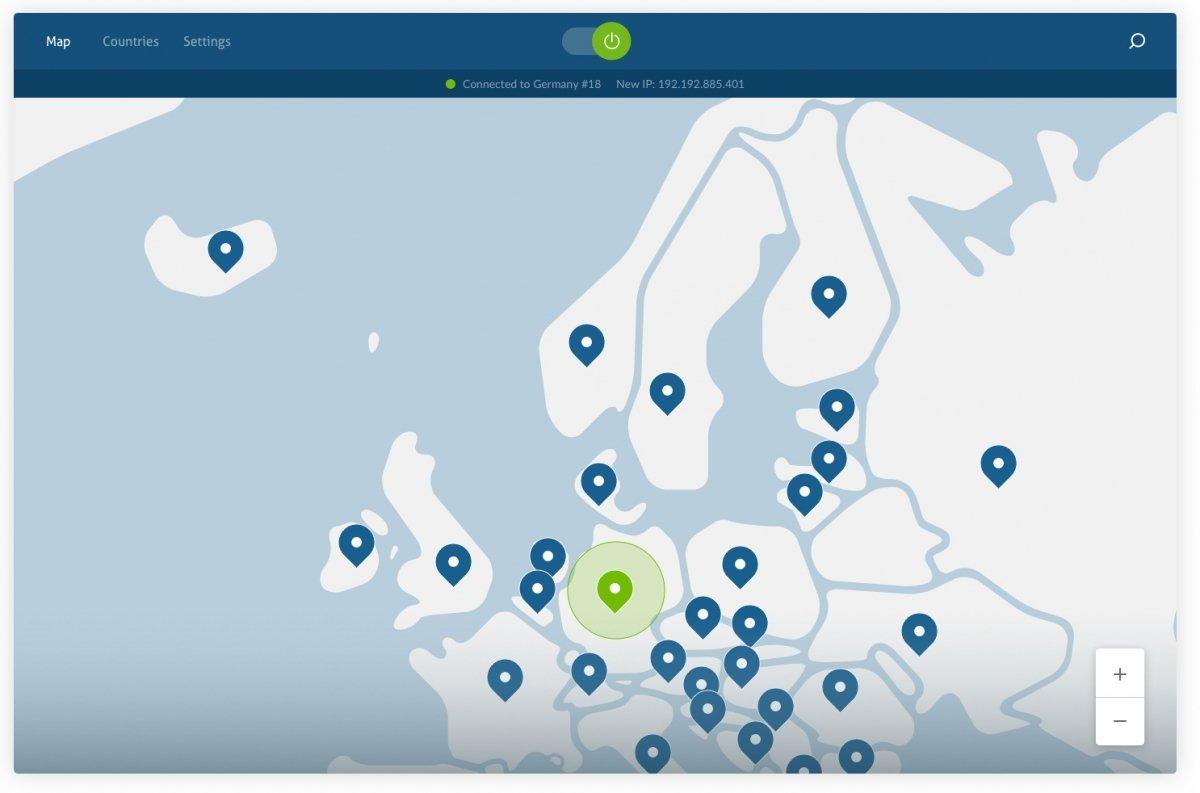Algunas ubicaciones de NordVPN