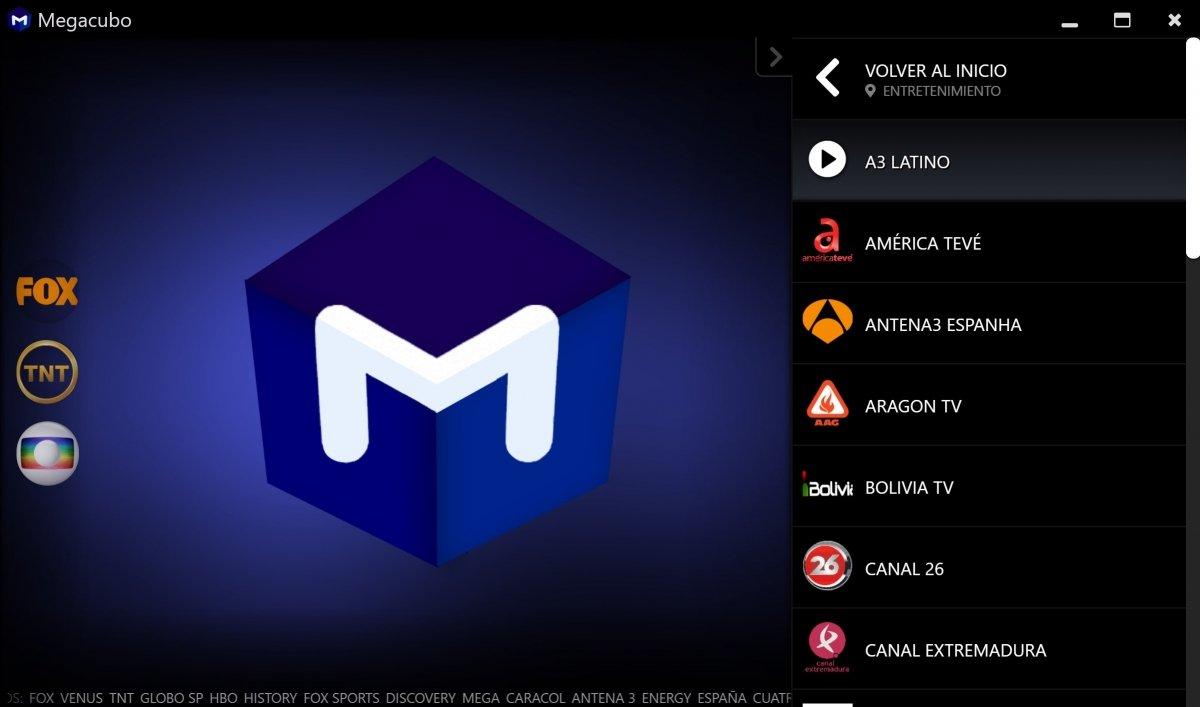 Algunos canales disponibles en Megacubo para Windows