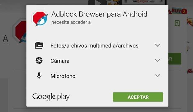 Algunos de los permisos requiridos por Adblock Browser para Android