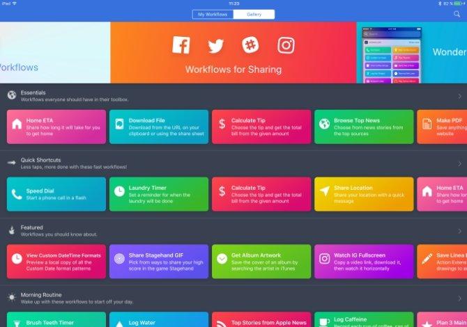Algunos workflows que te sugiere la app para utilizar