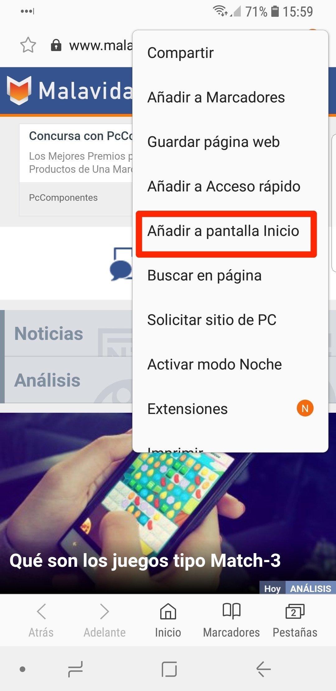 Añadiendo el acceso directo a la pantalla de inicio