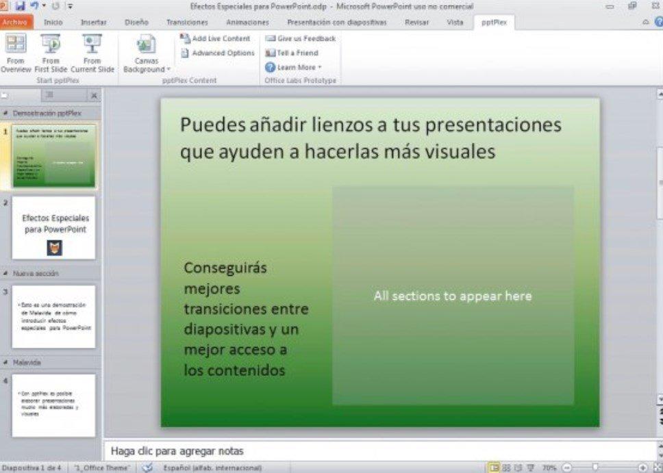 Añadiendo lienzos a presentaciones de PowerPoint