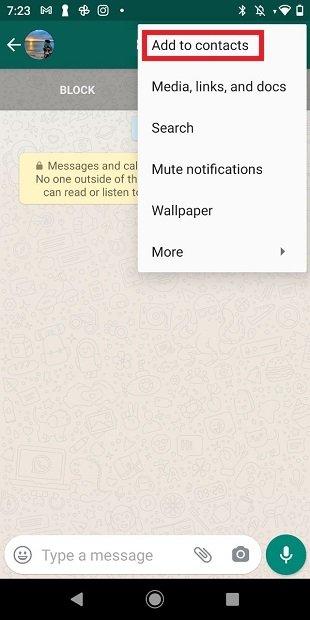 Añadir contacto desde WhatsApp