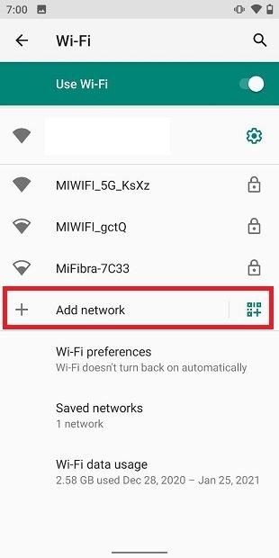 Añadir una nueva red manualmente