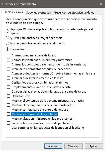 Animaciones de Windows deshabilitadas