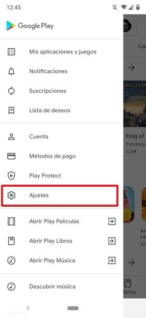 Apartado de Ajustes en el menú de Google Play