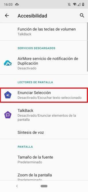 Apartado para activar la lectura de texto en Android