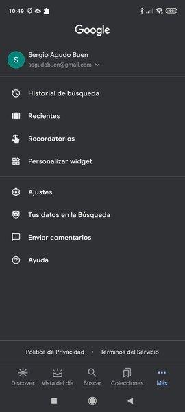 Apartados de configuración de la app de Google
