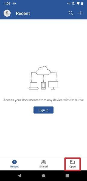 Apertura de un documento en Word para Android