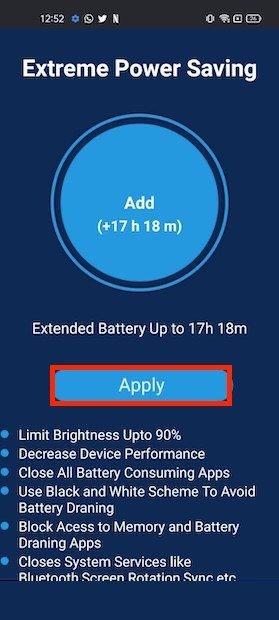 Aplicar modo ahorro de batería
