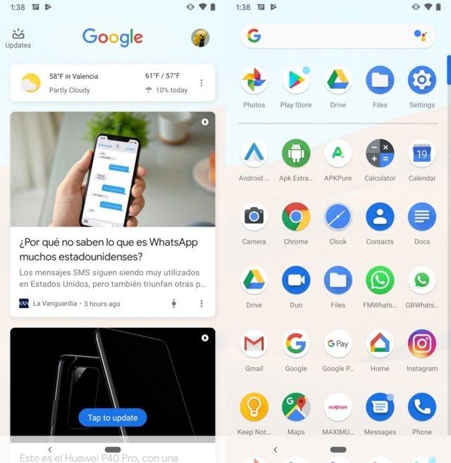 App de Google y box de aplicaciones en Android Stock