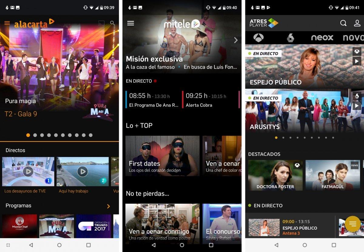 Apps oficiales de canales de España