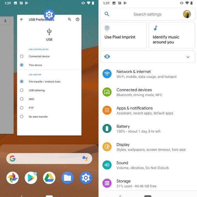 Apps recientes y ajustes en Android 10