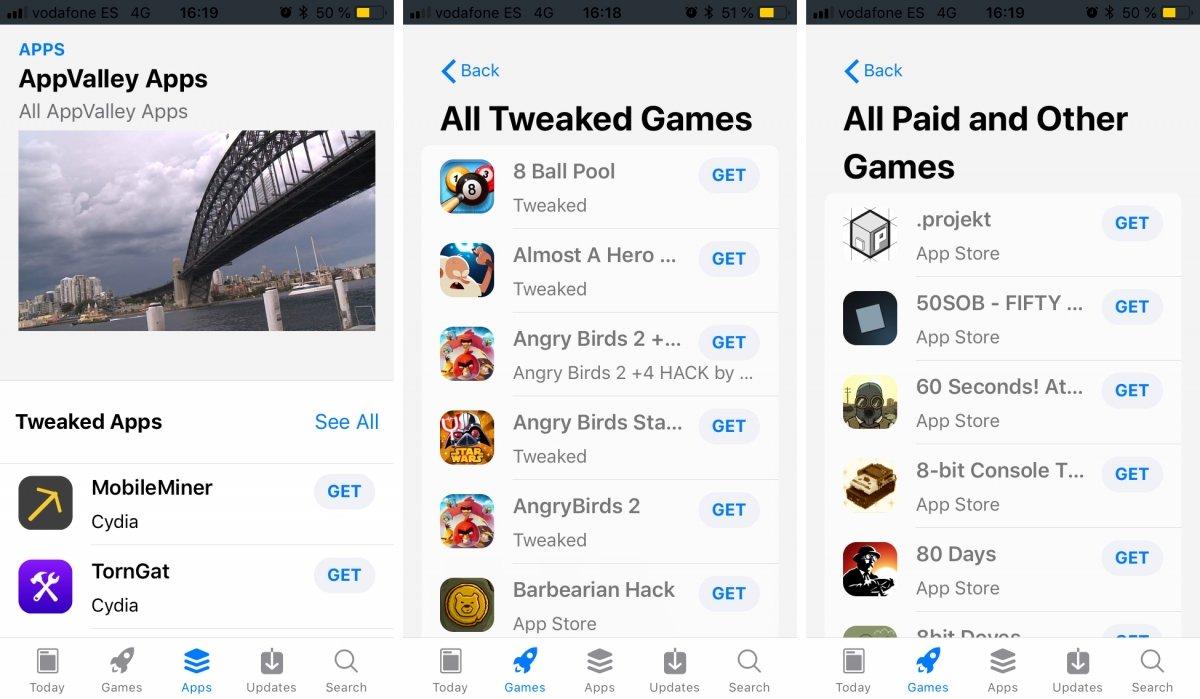 AppValley también ofrece apps y juegos hackeados