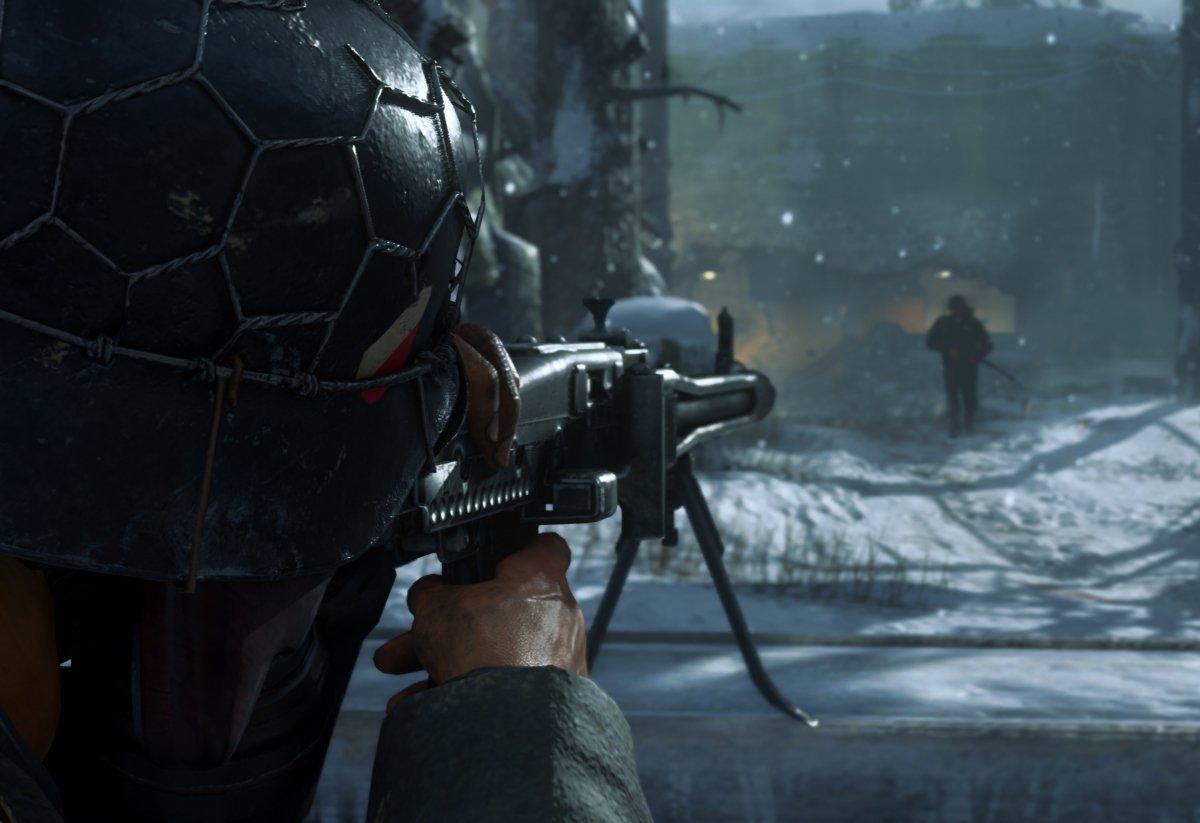 Apuntando a un hombre en Call of Duty WW2