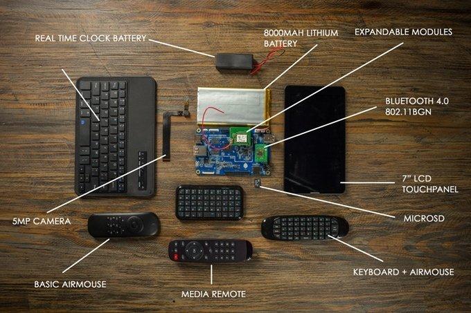 Aquí pueden verse todos los accesorios que se pueden conectar al Pine A64