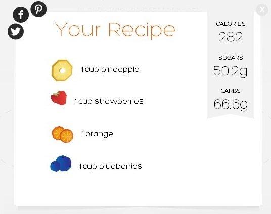 Aquí tenemos el valor nutricional de la combinación de frutas anterior