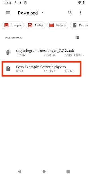Archivo PKPass en el explorador
