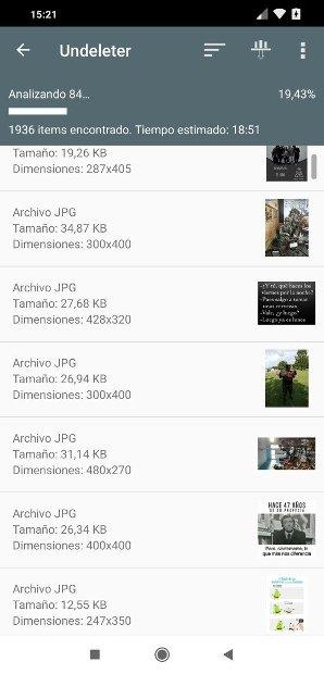 Archivos recuperados en Undeleter