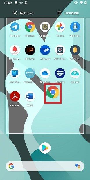 Arrastrar icono de la pantalla de inicio
