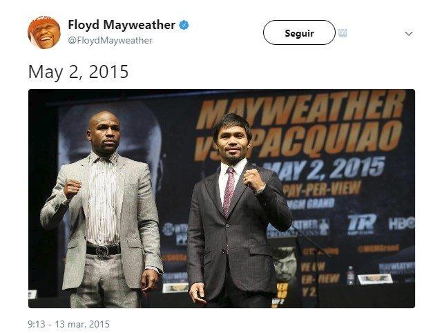 Así anunciaba Mayweather el combate en su Twitter