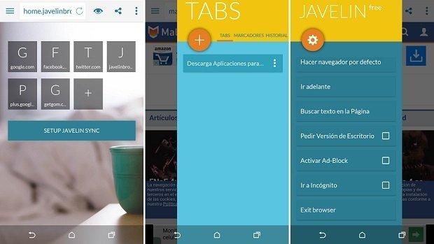 Así luce la interfaz de Javelin para Android