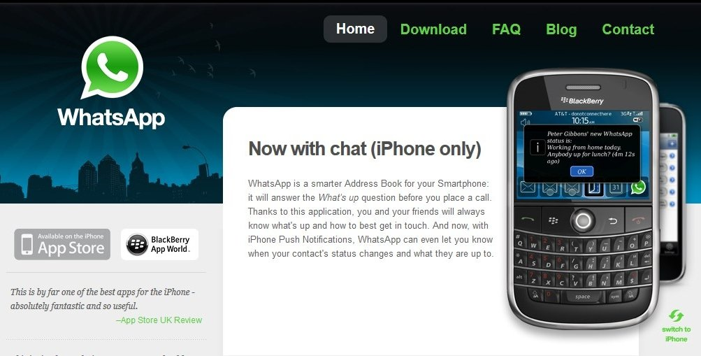 Así lucía la primera web de WhatsApp en 2009