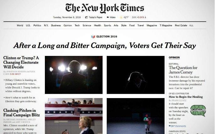 Así se ve hoy en día la edición online del New York Times