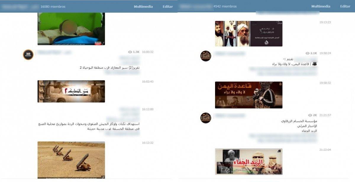 Así son los canales de Telegram utilizados por ISIS
