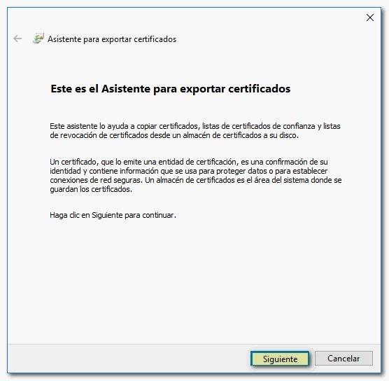 Asistente para exportar certificados