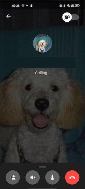 Aspecto de la pantalla durante la llamada
