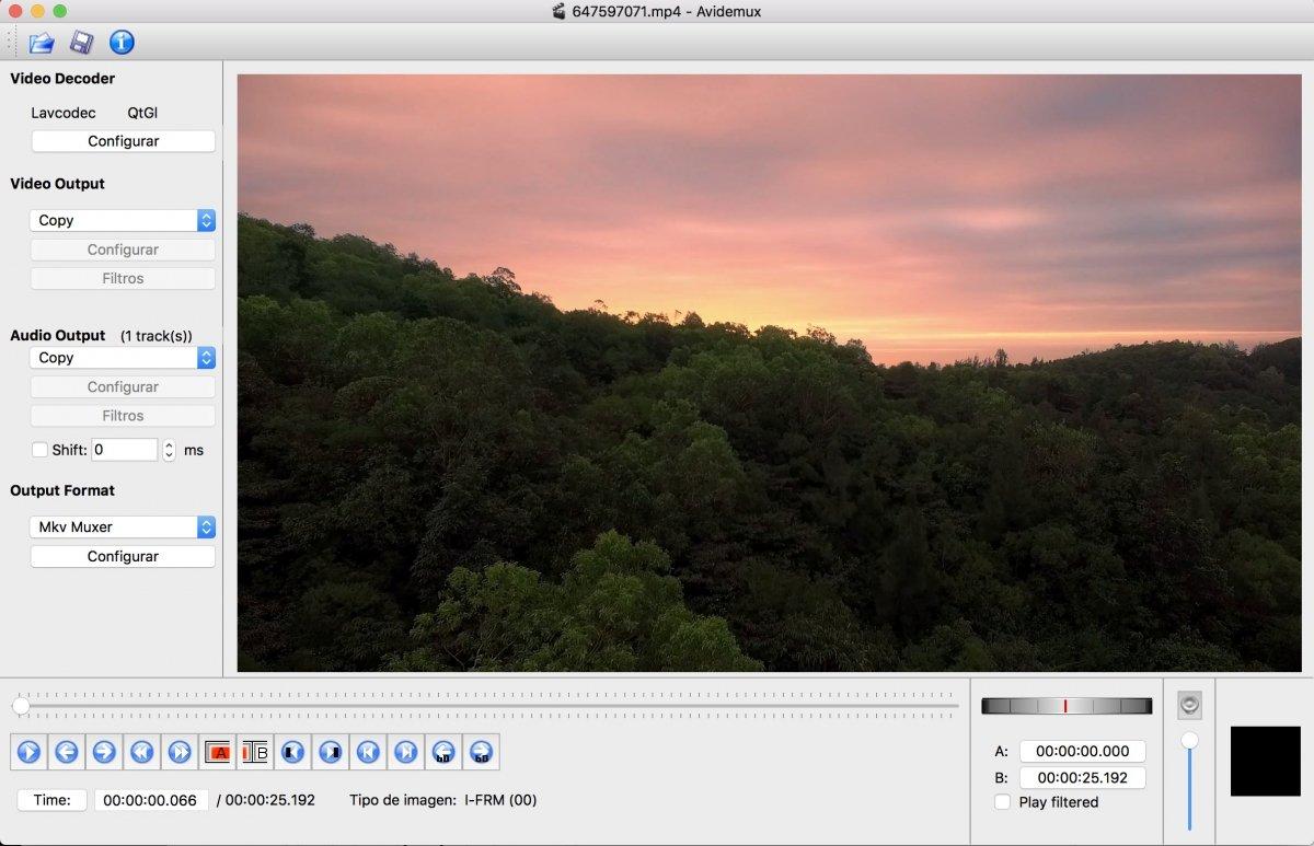 Avidemux con un clip de vídeo