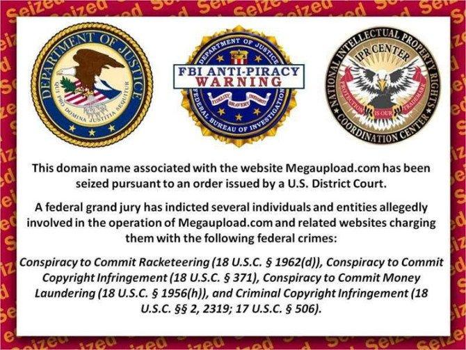Aviso de confiscación del FBI a un sitio web acusado de piratería