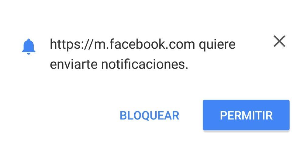 Aviso para permitir la recepción de las notificaciones de Facebook a través de Chrome para Android