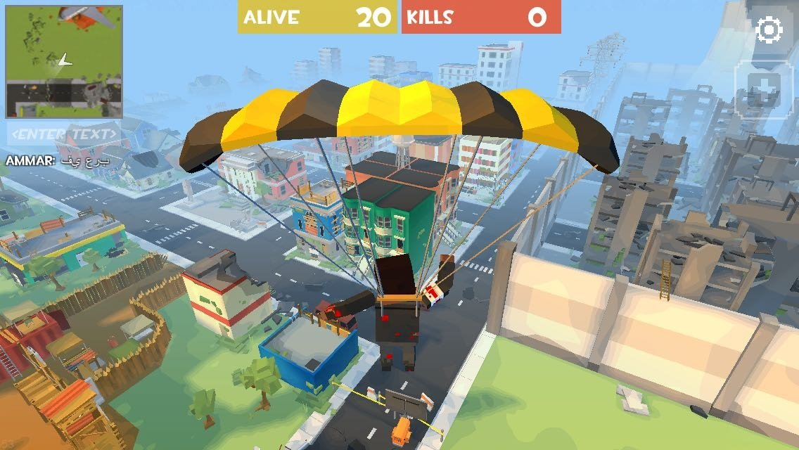 Bajando en paracaídas en Grand Battle Royale