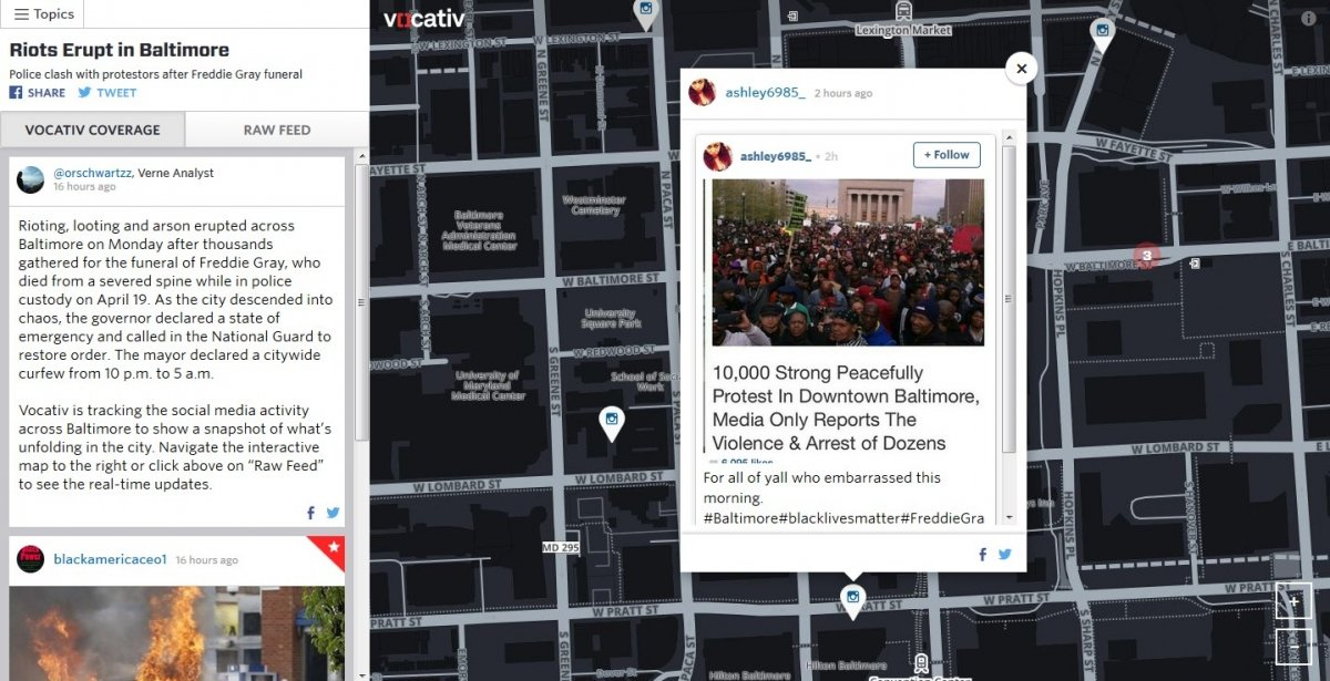 Baltimore en Vocativ Social Map