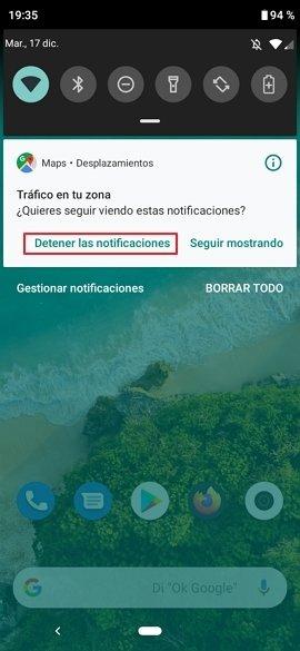 Barra de notificaciones de Android