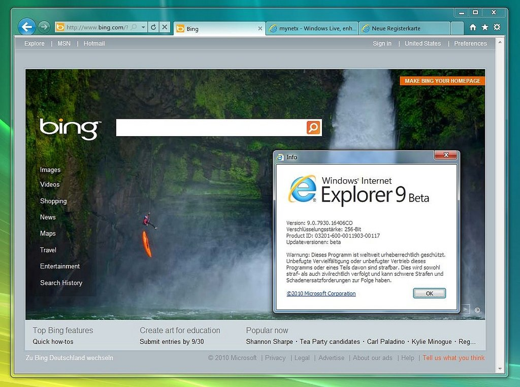 Beta de Internet Explorer 9