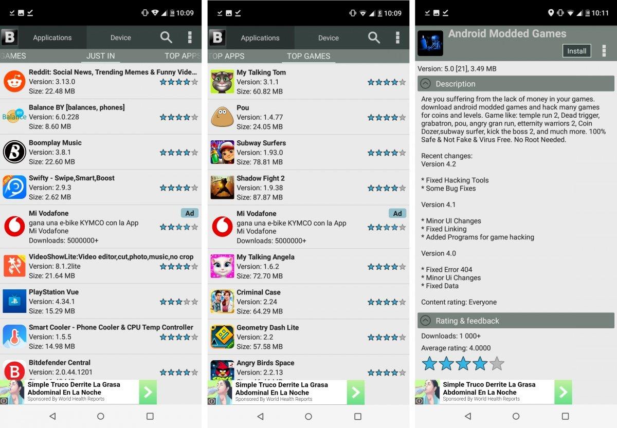 Blackmart es una clásica app bastante fea