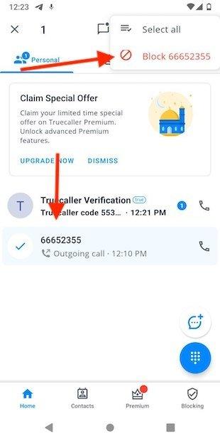 Bloquear número con Truecaller