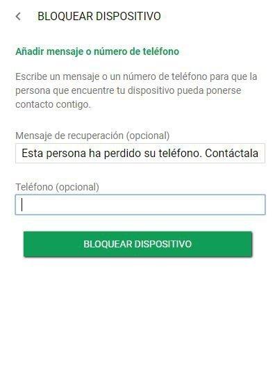 Bloqueo remoto de dispositivo Android